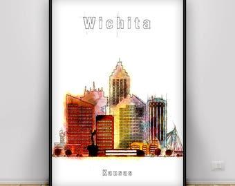 Wichita Skyline Print, Kansas Watercolor Art Print, Wichita Cityscape, Wichita Art Home Decor, Office Decor Gift