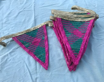 Handmade bunting, pink and green