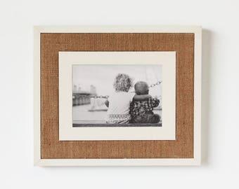MED/LG Rustic Wooden Frame with Burlap (Ivory) - rustic frames, rustic wooden frames, modern rustic frame, reclaimed wood frame