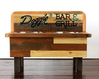 "Hand Inlaid Reclaimed Wood Dog ""BAR & GRILL"" Feeding Stand (MED) - elevated dog feeder, rustic dog feeder, raised dog bowl stand, pet feeder"