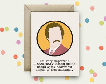 Anchorman Pop Art and Quote A6 Blank Greeting Card with Envelope
