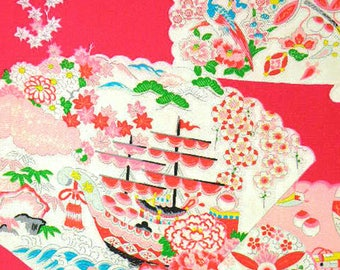 Vintage Japanese Silk Fabric – Childrens Kimono Fabric, Made in Japan – Colorful Japanese Fans – Japanese Good Fortune Symbols