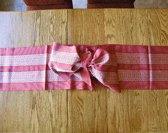 Vintage Japanese Silk Obi – Silver Red Silk Belt, Silk Sash – Silk Table Runner – Japanese Wall Décor – Mid Century Modern - Kimono Silk
