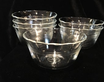 Pyrex Custard Cups - Vintage - Scolloped Top - Three Rings -  Set of 6