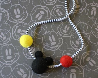 Mickey Felt ball Necklace