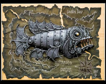Fish Steampunk. An interior, a panel, an art. Handmade. Exclusive. Unique things