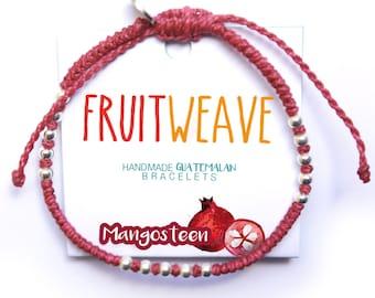 MANGOSTEEN CLASSIC BRACELET, Guatemalan Bracelets, Handmade bracelets, colorful bracelets, fruit based, fruit weave, friendship bracelets.