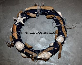 Marques place sapin en rondelles de bois flott for Couronne de noel bois flotte
