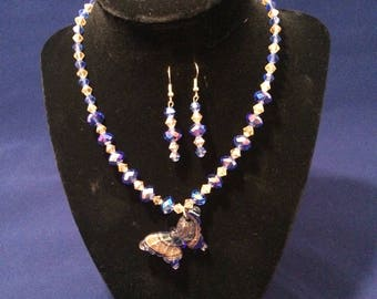 Glass and Crystal Butterfly necklace set