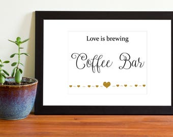 Wedding Coffee Bar Sign, Printable Wedding Sign, Beverage Station, Black and Gold