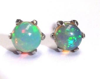 Natural | .40CTW Opal and 18K White Gold Stud Post Earrings