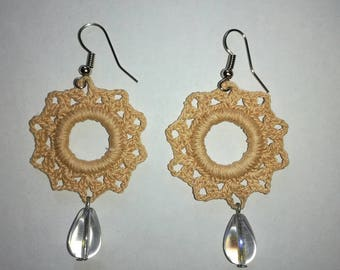 Crocheted earrings, Knitted earrings, beige earrings. Wedding earrings. Romantic style.