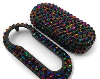 Swarovski® Crystal encrusted Fiat 500 key cover case fob Crystal Rainbow dark