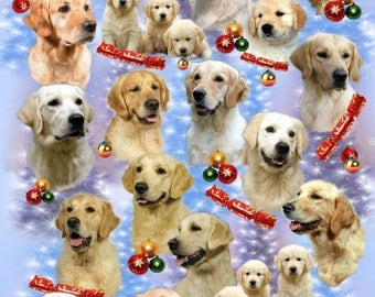 Golden Retriever Dog Christmas Gift Wrapping Paper.