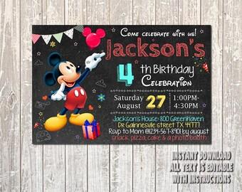 Mickey Mouse Invitation, Mickey Mouse Birthday, Mickey Invitation, Mickey Mouse Party, Mickey Mouse Card, Mickey Printable, Mickey_BS070