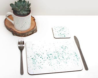 Teal paint splatter Placemats | Tabletmat set | Teal and grey | Colour Pop | Table Setting | Modern Home | Scandi Home | Place mat