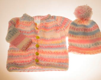Pastel Rainbow Baby Sweater and hat Set