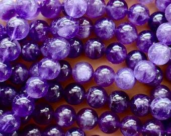 6mm Dark Amethyst beads, grade AB, full strand, natural stone beads, round, 60106