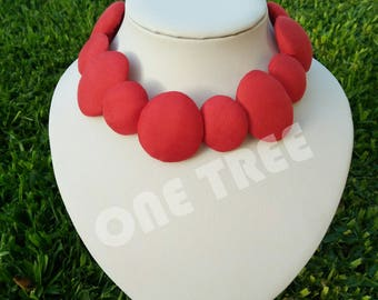 STUNNING RED silk fabric choker necklace