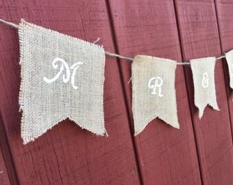 Custom Burlap Mr. and Mrs. Sign//Custom Banner//Mr. and Mrs. Sign//Rustic Wedding//Wedding Decor//Mr. and Mrs. Burlap Banner//Bridal Shower