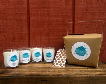 SAMPLE PACK-Gift Set/100% Hand Poured Soy Candle/Gift Sets for Women/Container Candles/Votive Candles/Christmas Gifts/Sample Candle Set