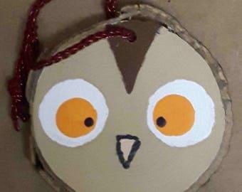 Hand Painted Wood Slice Owl Ornament