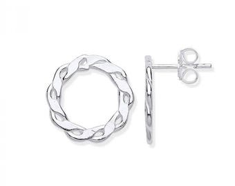 925 Sterling Silver 15mm Infinity Link Circle Stud Earrings