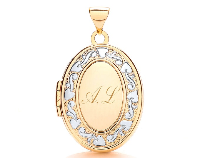 9ct Gold Ivy Trail 4 Photo Family Oval Locket-Personalised Initials & Message