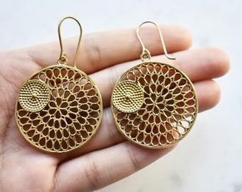 Mandala Earrings, Gold Earrings, Hoop Earrings, Lily Pad Leaf Earrings, Bronze Brass Earrings, Mothers Day Gift, Geometric Design Earrings