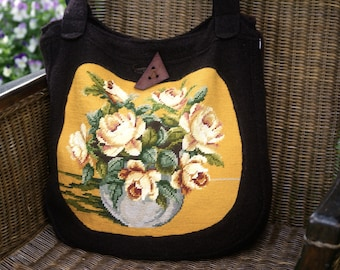 Vintage embroidery/tapestry with roses on Shopper's bag