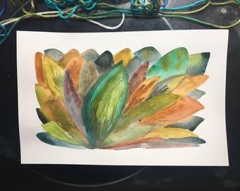 Leaf on Leaf on Colorful Leaf, 7x11, Ten Dollar Original Art, Nature