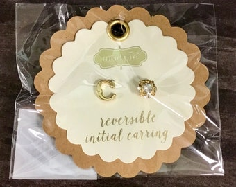 C Initial Earrings Reversible
