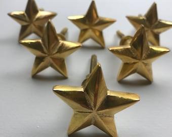 Lovely Set 6 x GOLD STAR Metal Knobs - Knob Home decor drawer pull