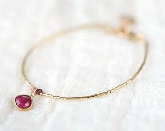 Bangle Bracelet with sparkling gems and gold girls bracelet, delicate 14kt gold tubes