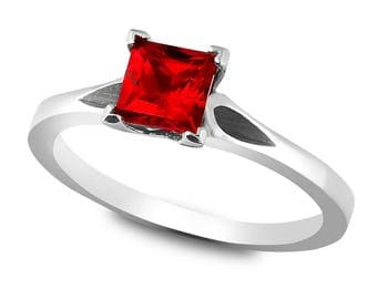 The Los Angeles Ring - Lab Grown Ruby 14K White Gold