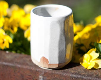 woodfired tiny little faceted VASE with simple white glaze
