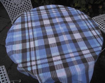 Vintage small square tablecloth Blue & Chocolate