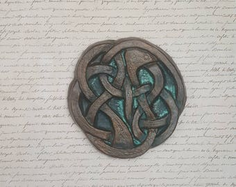 Interlaced animal, celtic knot, interlaced snake, ceramic, clay carving, Scottish, Irish, Celtic, wall art, home decor, fine art