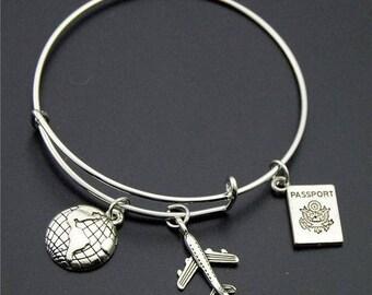 Silver Wanderlust Bangle Version (3) *Free Shipping* Travel Jewellery, Travel Gift, Wanderlust Jewellery, Adventure Bracelet
