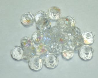 15 6mm Crystal beads faceted iridescent clear
