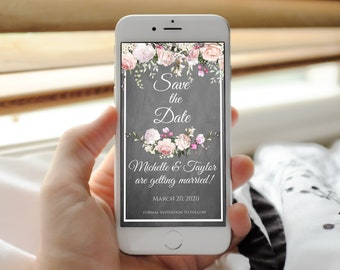 Digital invitation, email invitation, electronic invite, boho save the dates, chalkboard save date, save-the-date, save our date, save the