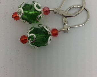 Earrings, drop, red, green, lever back, christmas