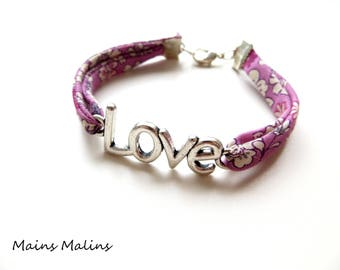 Love bracelet white pink floral fabric