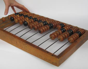 Large Soviet Vintage Wooden ABACUS; Made in USSR 60's Big Antique Abacus; VTG Office Decor; Antique Wooden Counting Frame; Retro Calculator;