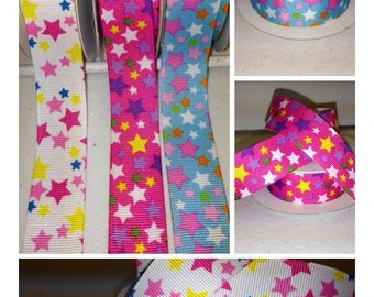 "1.5"" x 10 yards Grosgrain-Pastel Stars"
