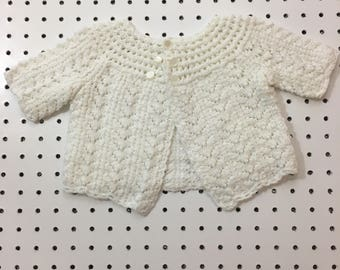 Vintage baby sweater- white knit baby girl cardigan