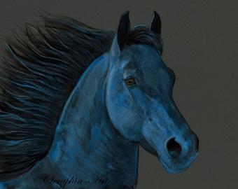 Friesian Horse Original Watercolor Painting