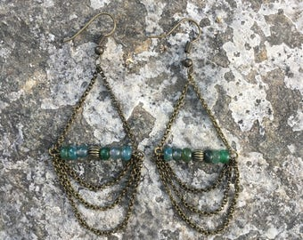 Jade and Bronze Chandelier Earrings / Chain and Stone Bead Earrings / Handmade