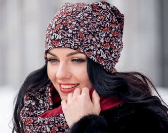 Nice Set Hat and Infinity Scarf Large Wraparound Warm Winter Beanie Neckwarmer Scarf Christmas Gift For Her