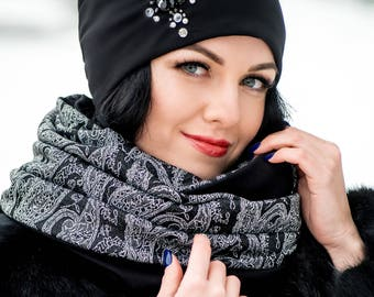Black Set Hat with Embroidery Rhinestones and Infinity Scarf Large Wraparound Warm Winter Beanie Neckwarmer Scarf Christmas Gift For Her